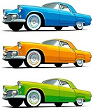 Vectorial icon set of American old-fashioned cars isolated on white backgrounds  Every cars is in separate layers  File contains gradients and blends