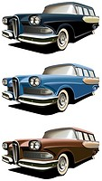 Vectorial icon set of American old-fashioned station wagons isolated on white backgrounds  Every car is in separate layers  File contains gradients an...