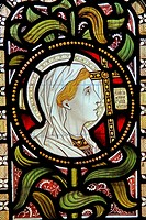 Detail of a stained glass window depicting Faith, Church of St Laurence, Lighthorne, Warwickshire, England