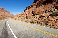 road in a arid landscape near Moab, Utah, Usa