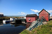 fish shacks and port of Blue Rocks near Lunenburg, Mahone Bay, Nova Scotia, Canada, North America