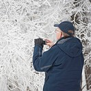 Winnipeg, Manitoba, Canada, A Man Standing By Frost Covered Trees And Taking A Picture With His Camera