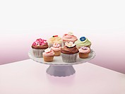 Variety of cupcakes on cakestand