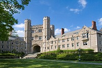 Buyers Residentail Hall and Blair Hall with clock tower, dorms at Princeton University, good examples of Collegiate Gothic architecture  Princeton, Ne...