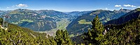 Mayrhofen, Zillertal Valley, Tirol Tyrol region, Austria in Summer, panoramic