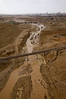 Aerial photograph of the Beer Sheva stream after a flood