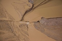 Aerial photograph of a flooded wadi in the Judean Desert