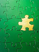 Gold piece in green jigsaw puzzle