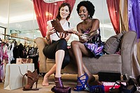 Women shopping for shoes (thumbnail)