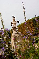 Pigeons on a statue in a garden, Palais Royal, Paris, Ile_De_France, France