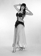 Portrait of young woman wearing belly dance outfit