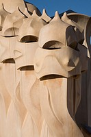 CHIMNEYS OF LA PEDRERA BY ANTONIO GAUDÍ. BARCELONA, SPAIN