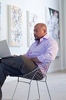 Mixed race businessman using laptop in art gallery