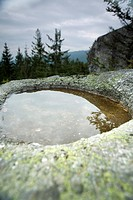 Healing stone Teufelsschuessel near Oberschwarzenberg, Muehlviertel, Upper Austria, Austria