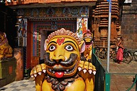 Stone lions at the entrance of Lingaraja Temple, Bhubaneshwar, Orissa, India, Asia