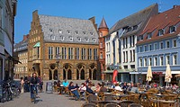 Oldest Town hall in Westphalia with arcade at the Market place in Minden, Strasse der Weserrenaissance, North Rhine_Westphalia, Germany, Europe