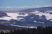 View from the mountain Kandel over the Black Forest with the village of St.Maergen, the Thurner, and the Swiss Alps, Baden_Wuerttemberg, Germany, Euro...