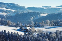 Winter´s day at St. Maergen, Farmhouse, Black Forest, Baden_Wuerttemberg, Germany, Europe