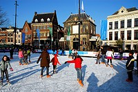 Skating on market square, Gouda, South_Holland, The Netherlands