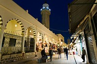 Mosque and shops in the Medina, Old Town, Tripoli, Libya, Africa