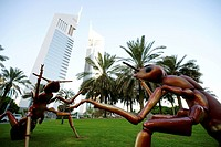 Sculptures in front of Jumeirah Emirates Towers, Dubai, UAE, United Arab Emirates, Middle East, Asia