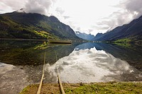 Little boat on the water, fjord landscape, Sogn og Fjordane, Norway, Scandinavia, Europe