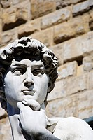 Head of the David Statue by Michelangelo on Piazza della Signoria, Florence, Tuscany, Italy