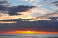 Sunset above the ocean, Playa de Santiago, southcoast of Gomera, Canary Isles, Spain, Europe