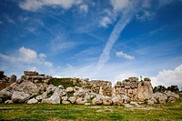 Ruins of the 7000 year old Ggantija temple under clouded sky, Gozo, Malta, Europe