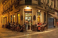Guests in a bar, Old Town, Malaga, Andalusia, Spain