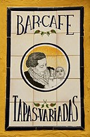 Tiled bar sign  for Cafe and Tapas Sevilla Andalusia Spain