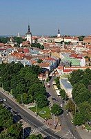 aerial overview of Old Town Tallinn from Sokos Viru hotel, estonia, northern europe