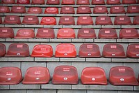 Seats in stadium, Oberhausen, North Rhine_Westphalia, Germany, Europe