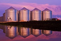 grain storage bins, near Lorette, Manitoba, Canada