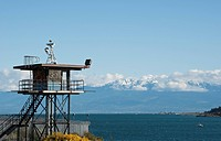 William Head prison sentry post , with Race Rocks and Olympic Mountains, Metchosin, Victoria Area, British Columbia, Canada