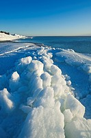 washed up ice flows along Lake Winnipeg, Manitoba, Canada