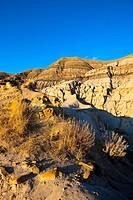 Hoodoo formation in The Badlands, Drumheller, Alberta, Canada.