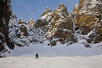 A man backcountry skiing, Mount Chephren, Icefields Parkway, Banff National Park, Alberta, Canada