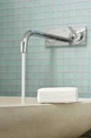 Close_up of soap bar on bathroom sink