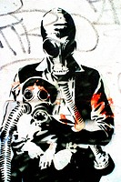 Mother and Child in Gasmask, Stencil Graffiti Art