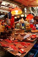 A fresh food market in Hong Kong