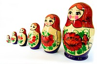 A stock photograph of a set of Russian Dolls