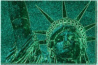 This is a digitally altered image of the Statue of Liberty. The image is shaded in green, much the same color as the actual statue. This shows her hea...