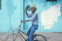 Elderly African_American riding a bicycle, Key West, FL