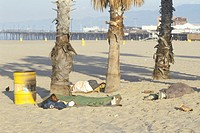 Homeless people sleeping at Venice Beach, California