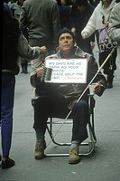 Blind man begging, New York City, New York