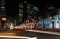 Night light streaks on McGill College street Montreal