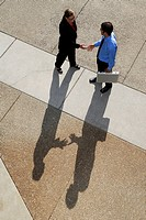 Businessman and woman with shadows meeting with a handshake
