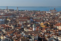 Tightly packed rooftops in Venice