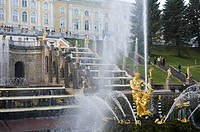 Gilded statue of Samsom at the Great Cascade Fountain at Peterhof